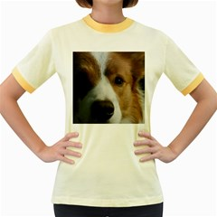 Red Border Collie Women s Fitted Ringer T-Shirts