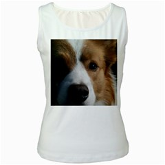 Red Border Collie Women s White Tank Top