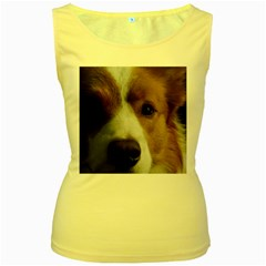 Red Border Collie Women s Yellow Tank Top