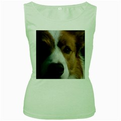 Red Border Collie Women s Green Tank Top
