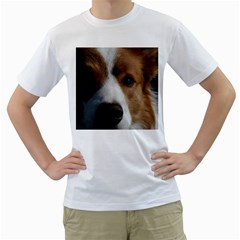 Red Border Collie Men s T-Shirt (White) (Two Sided)