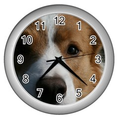 Red Border Collie Wall Clocks (Silver)