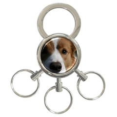 Red Border Collie 3-Ring Key Chains
