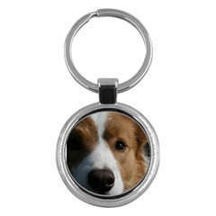Red Border Collie Key Chains (Round)