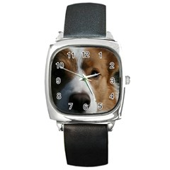 Red Border Collie Square Metal Watch