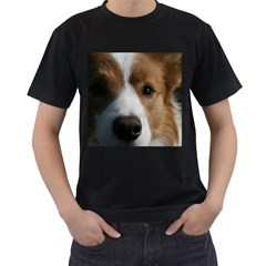 Red Border Collie Men s T-Shirt (Black) (Two Sided)