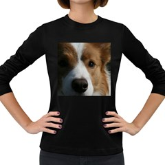 Red Border Collie Women s Long Sleeve Dark T-Shirts