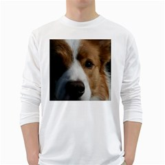 Red Border Collie White Long Sleeve T-Shirts