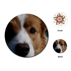 Red Border Collie Playing Cards (Round)