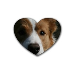 Red Border Collie Rubber Coaster (Heart)