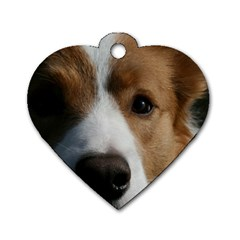 Red Border Collie Dog Tag Heart (One Side)