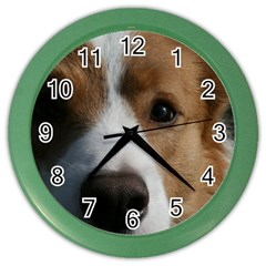 Red Border Collie Color Wall Clocks