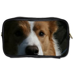 Red Border Collie Toiletries Bags