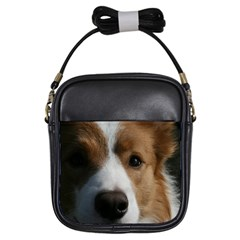 Red Border Collie Girls Sling Bags