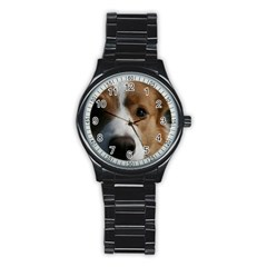 Red Border Collie Stainless Steel Round Watch