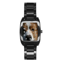 Red Border Collie Stainless Steel Barrel Watch