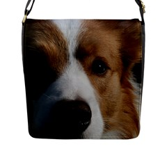 Red Border Collie Flap Messenger Bag (L)