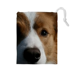 Red Border Collie Drawstring Pouches (Large)