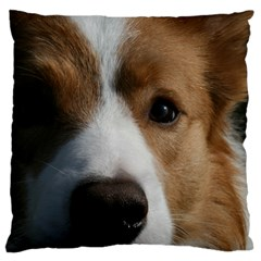 Red Border Collie Large Flano Cushion Case (One Side)