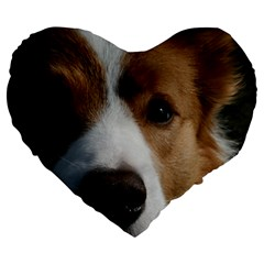 Red Border Collie Large 19  Premium Flano Heart Shape Cushions