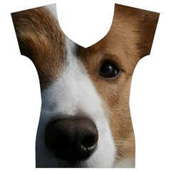 Red Border Collie Women s V-Neck Cap Sleeve Top