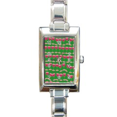 Wine Red Champagne Glass Red Wine Rectangle Italian Charm Watch
