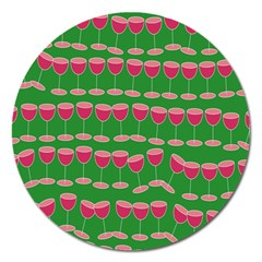 Wine Red Champagne Glass Red Wine Magnet 5  (Round)