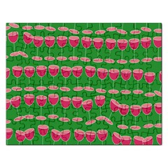Wine Red Champagne Glass Red Wine Rectangular Jigsaw Puzzl
