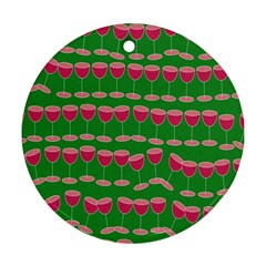 Wine Red Champagne Glass Red Wine Round Ornament (Two Sides)