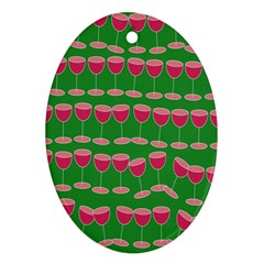 Wine Red Champagne Glass Red Wine Oval Ornament (Two Sides)