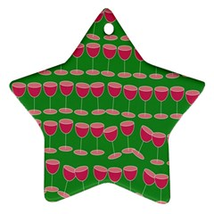 Wine Red Champagne Glass Red Wine Star Ornament (Two Sides)