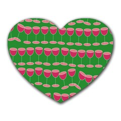 Wine Red Champagne Glass Red Wine Heart Mousepads