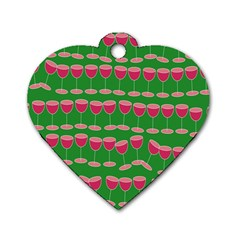 Wine Red Champagne Glass Red Wine Dog Tag Heart (Two Sides)