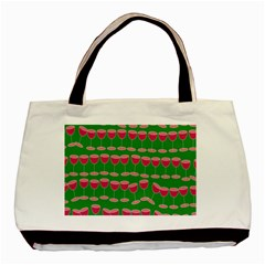 Wine Red Champagne Glass Red Wine Basic Tote Bag (two Sides)