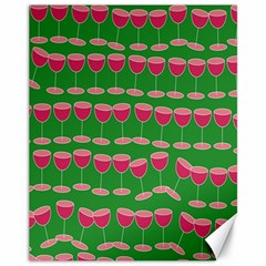 Wine Red Champagne Glass Red Wine Canvas 11  X 14