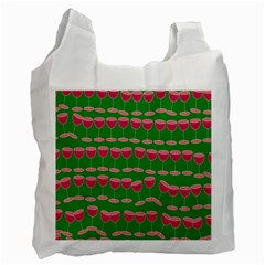 Wine Red Champagne Glass Red Wine Recycle Bag (One Side)