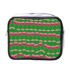 Wine Red Champagne Glass Red Wine Mini Toiletries Bags
