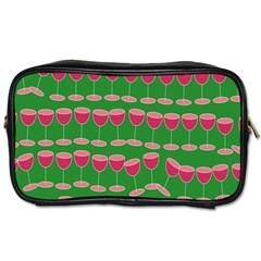 Wine Red Champagne Glass Red Wine Toiletries Bags 2 Side