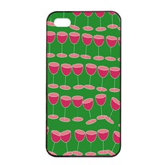 Wine Red Champagne Glass Red Wine Apple Iphone 4/4s Seamless Case (black)