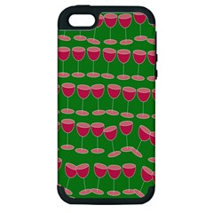 Wine Red Champagne Glass Red Wine Apple iPhone 5 Hardshell Case (PC+Silicone)