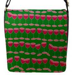Wine Red Champagne Glass Red Wine Flap Messenger Bag (S)