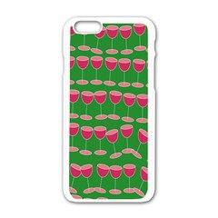 Wine Red Champagne Glass Red Wine Apple iPhone 6/6S White Enamel Case