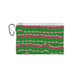 Wine Red Champagne Glass Red Wine Canvas Cosmetic Bag (S)