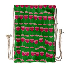 Wine Red Champagne Glass Red Wine Drawstring Bag (large)