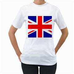 Union Jack Flag Women s T-Shirt (White) (Two Sided)