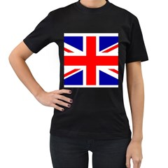 Union Jack Flag Women s T Shirt (black) (two Sided)