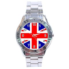 Union Jack Flag Stainless Steel Analogue Watch