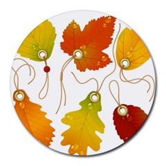 Vector Beautiful Maple Leaf Round Mousepads