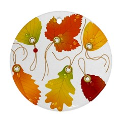 Vector Beautiful Maple Leaf Ornament (Round)