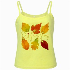 Vector Beautiful Maple Leaf Yellow Spaghetti Tank